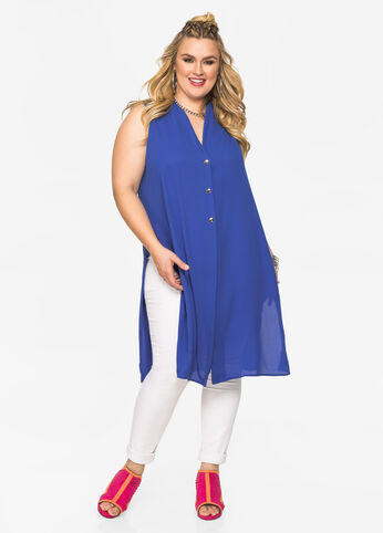 Side Slit Button Front Tunic