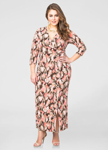 Snake Print Surplice Maxi Dress