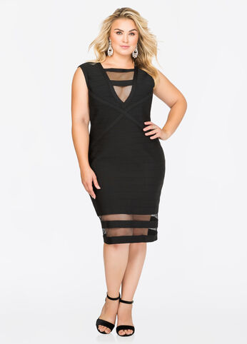 Mesh Hem Bodycon Bandage Dress