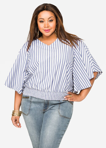 Bow Back Flutter Sleeve Striped Blouse