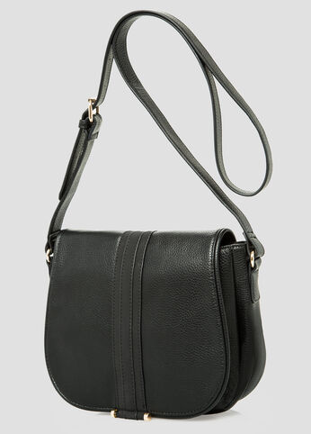 Faux Pebbled Leather Saddle Bag