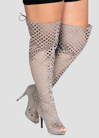 Lattice Over The Knee Boot - Wide Calf Wide Width