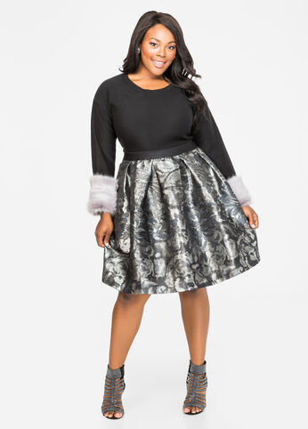 Metallic Jacquard Box Pleat Skirt