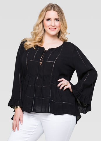 Drama Sleeve Peasant Blouse