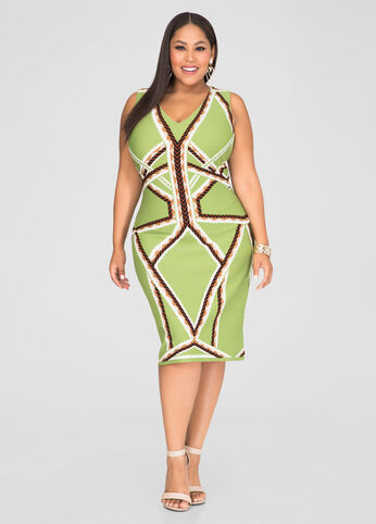 Geo Stripe Sheath Dress