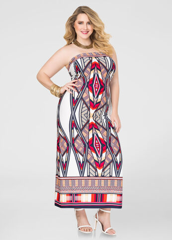 Plus Size Tribal Tube Top Maxi Dress Red - Front