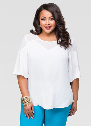 Sheer Geo Yoke Hi-Lo Blouse