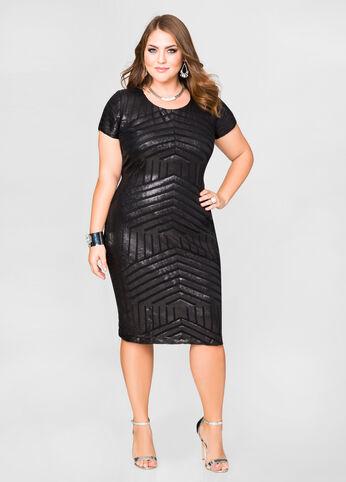 Tonal Sequin Sheath Dress