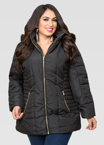 Ruched Side Puffer Coat