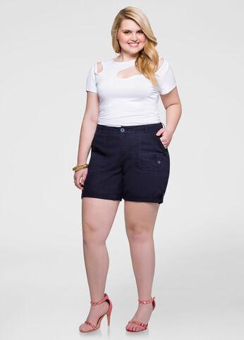 Linen Cuffed Tab Shorts