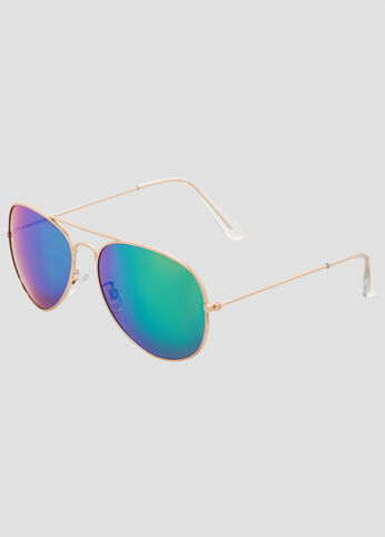 Rainbow Mirror Lens Aviator Sunglasses