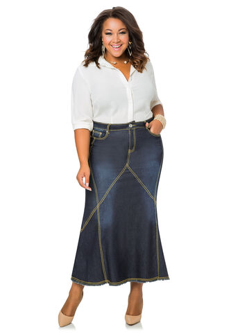 Contrast Stitch Long Denim Skirt