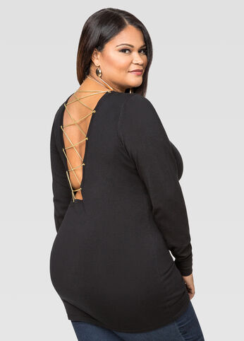 Open Back Chainlink Tunic Sweater