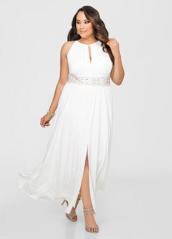 Beaded Waist Halter Gown