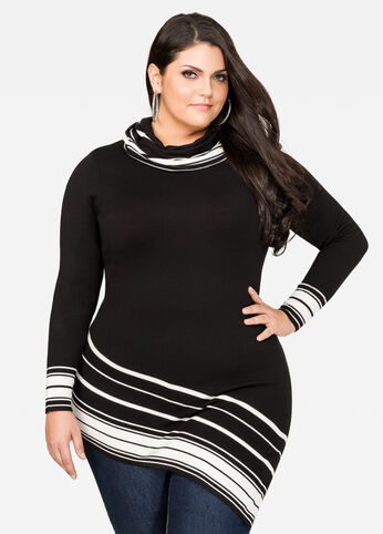 Striped Asymmetrical Cowl Neck Sweater