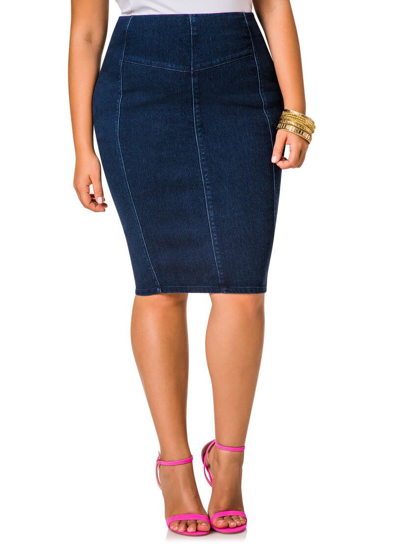 back zip denim pencil skirt stewart