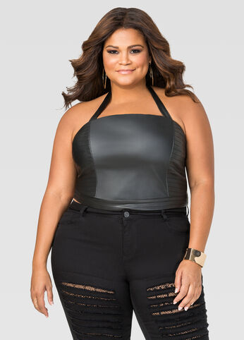 Faux Leather Halter Bustier Top