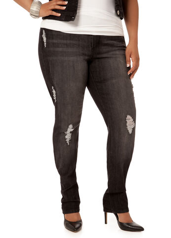 Black Destructed Skinny Jeans