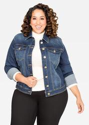 Appliqué Cropped Jean Jacket-Plus Size Jackets-Ashley Stewart-034