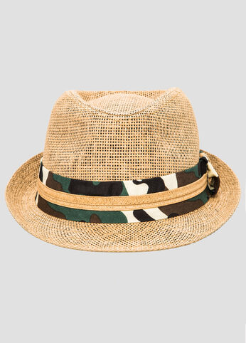 Camo Band Straw Fedora Hat