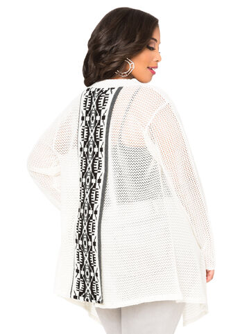 Split Back Aztec Cardigan Sweater-