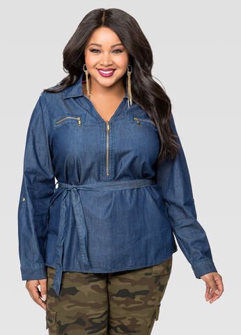 Half Zip Belted Denim Tunic