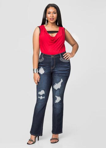 Metallic Mesh Flare Leg Jeans