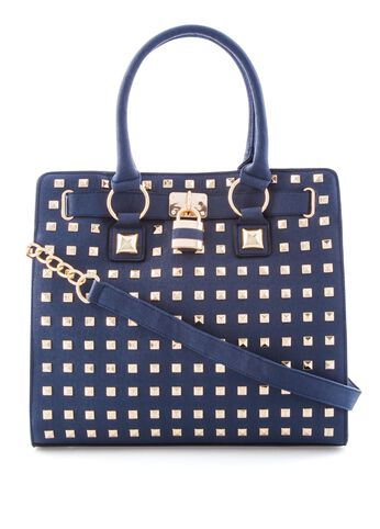 All-over Stud Lock Tote