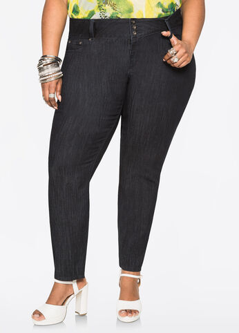 Tall 3-Button 5 Pocket Low Rise Ankle Skinny Jeans