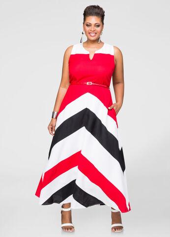 Colorblock Linen Maxi Dress