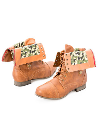 Plaid Foldover Combat Boot - Wide Width