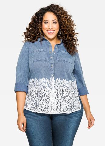 Crochet Lace Hem Denim Shirt