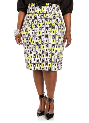 Geo-Print Sateen Wide Waist Skirt
