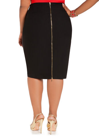 Midi Gold Zipper Skirt
