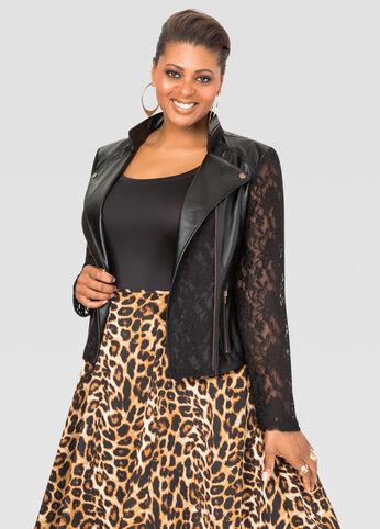 Faux Leather Lace Moto Jacket