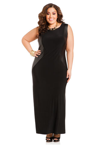 Sleeveless Maxi Dress w/Faux Leather Sides