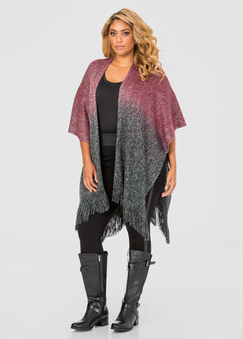 Cashmere Feel Metallic Ombre Ruana at Ashley Stewart