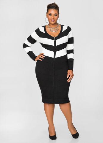 Zip Front Cardigan Sweater Dress