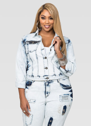 Bleached Stud Pocket Denim Jacket