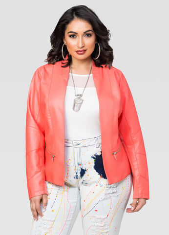 Faux Leather Zip Detail Blazer