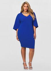Textured Knit Cape Dress