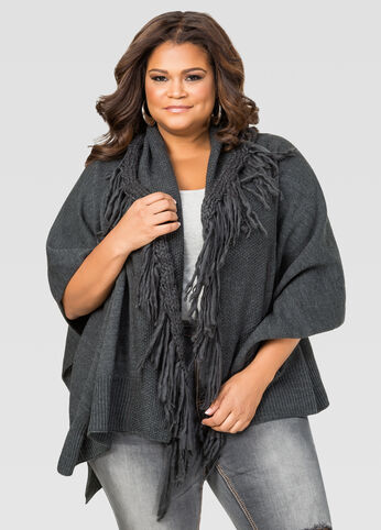 Extra Soft Fringe Ruana at Ashley Stewart