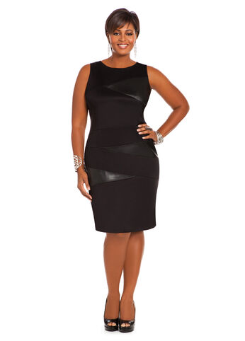 Faux Leather Scuba Dress