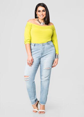 Slit Detail Skinny Jean