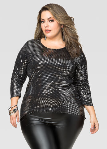 Metallic Dot Hi-Lo Top