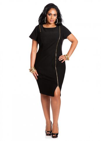 Asymmetrical Zipper Front Dress