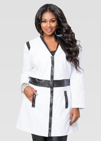 Contrast Leather Canvas Trench