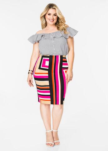 Mod Geo Pencil Skirt
