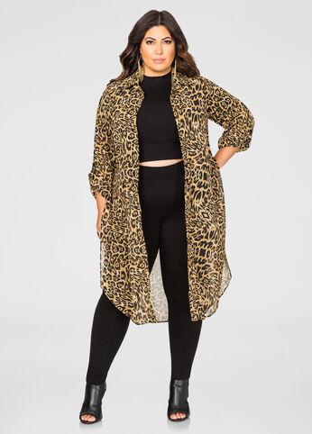 Open Front Sheer Leopard Duster