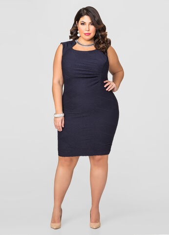 Ruched Side Textured Dress